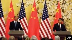 習近平與奧巴馬2014年11月12日在北京舉行記者會。