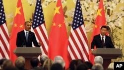 2014年11月12日美國總統奧巴馬在人民大會堂與習近平出席記者會時講話。