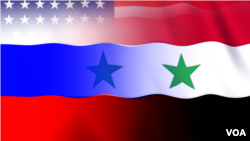 US RUSSIA AND SYRIA FLAGS