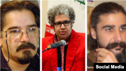 Iranian writers Reza Khandan-Mahabadi, left, Baktash Abtin, center, and Keyvan Bajan, members of the Iranian Writers Association, were sentenced on May 15, 2019, to six years in prison each by a Tehran court for alleged security offenses, according to IWA.