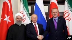 президенты Ирана, России и Турции