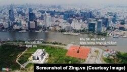Khu đất dự kiến dùng để xây Nhà hát giao hưởng nhạc vũ kịch tại Thủ Thiêm. (Screenshot of Zing.vn)