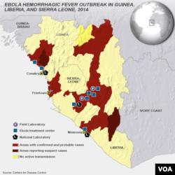 CDC 地圖顯示非洲伊波拉疫情