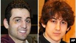 ຮູບທ້າວ Tamerlan Tsarnaev (ຊ້າຍ) ທີ່ສົບຖືກນໍາໄປຝັງ ທີ່ປ່າຊ້າແຫ່ງນຶ່ງ ໃນລັດເວີຈີເນຍ ແລະ ຮູບທ້າວ Dzhokhar Tsarnaev, ນ້ອງຊາຍຂອລາວ.