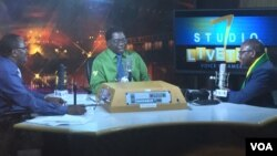 Pastor Evan Mawarire on Studio 7;s Livetalk program with hosts Gibbs Dube and Jonga Kandemiiri. (Photo: Blessing Zulu)