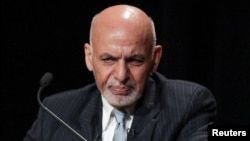 FILE - Afghanistan's President Ashraf Ghani speaks during a panel discussion at the Asia Society in New York City, Sept. 20, 2017.