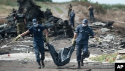 20일 말레이시아 여객기가 추락한 우크라이나 동부 지역에서 구급대원들이 희생자들의 시신을 이송하고 있다.