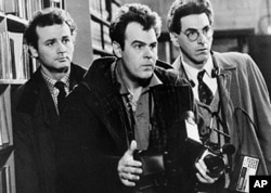 "FILE - In an undated file photo, Bill Murray, Dan Aykroyd, center, and Harold Ramis, right, appear in a scene from the 1984 movie ""Ghostbusters""."