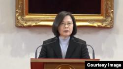 台灣總統蔡英文1日發表新年談話。 (台灣總統府網絡直播截圖)