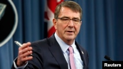 FILE - U.S. Defense Secretary Ash Carter speaks at a news conference at the Pentagon in Washington, March 11, 2015.