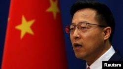 中國外交部發言人趙立堅在例行記者會上。 (2020年4月8日資料照)