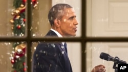 奧巴馬總統上月白宮講話的資料照。