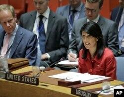 نیکی هیلی نماینده آمریکا در سازمان ملل متحد.