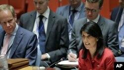 Đại sứ Mỹ tại Liên hiệp quốc Nikki Haley ngày 5/7/17 phát biểu tại Hội đồng Bảo an về vụ phóng thử phi đạn đạn đạo xuyên lục địa của Bắc Triều Tiên