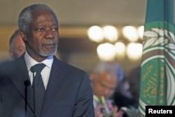 Kofi Annan, au Caire, le 8 mars 2012