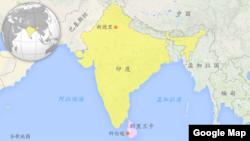 印度斯里兰卡地图