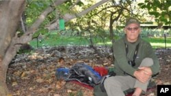 Naturalist Michael Fay camped out at the Missouri Botanical Garden during a recent visit to St. Louis.