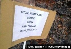 Poster Walhi NTT untuk mengingatkan bahaya tambang bagi petani (dok. Walhi NTT)