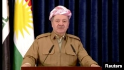 A still image taken from a video shows Kurdish President Masoud Barzani giving a televised speech in Irbil, Iraq, Oct. 29, 2017.