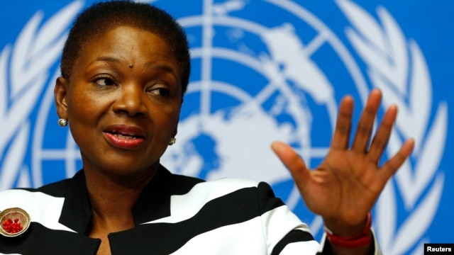 U.N. humanitarian chief Valerie Amos addresses a news conference on the situation in Central African Republic at the United Nations in Geneva, Switzerland, Mar. 7, 2014.