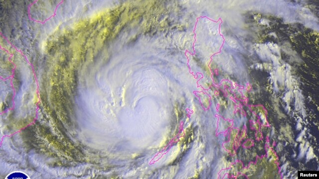 Typhoon Haiyan is pictured in this NOAA satellite image, over the Philippines, Nov. 8, 2013.
