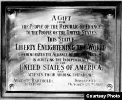 The dedication plaque on the Statue of Liberty