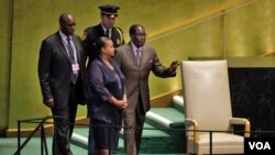President Mugabe before addressing the United Nations General Assembly.