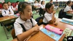 일본 도쿄의 한 조총련계 학교에서 학생들이 수업을 듣고 있다. (자료사진)