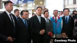 中国国台办主任张志军23日抵达金门参加夏张会(夏张会媒体群组提供)