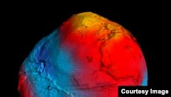 New geoid produced from GOCE data. The colors in the image represent deviations in height (–100 m to +100 m) from an ideal geoid. The blue shades represent low values and the reds/yellows represent high values. (© ESA/HPF/DLR)