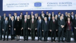 EU heads of state stand for a group photo at an EU summit in Brussels on Friday. But deep divisions on the future of Europe remain.