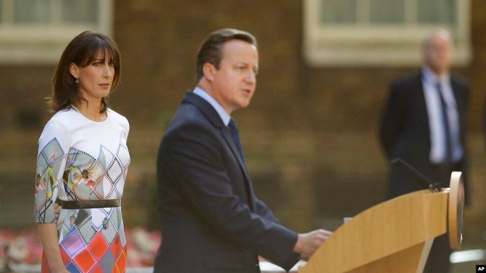 លោក David Cameron ថ្លែងនៅខាងក្រៅអគារ 10 Downing Street កាលពីថ្ងៃទី២៤ ខែមិថុនា ឆ្នាំ២០១៦។