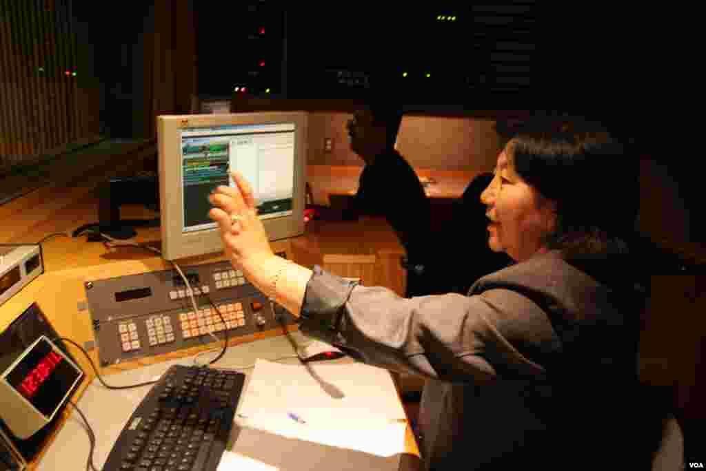 Tsetan Chodon producing the morning radio show
