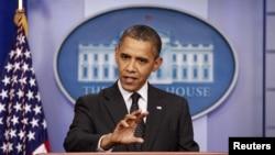 奧巴馬總統8月20日於白宮記者會上評論敘利亞局勢