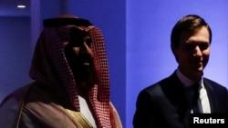 FILE - Saudi Arabia's Prince Mohammed bin Salman escorts White House senior advisor Jared Kushner at the Global Center for Combatting Extremist Ideology in Riyadh, Saudi Arabia May 21, 2017.