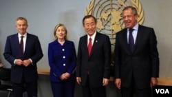 Wakil-wakil Kuartet Timur Tengah melakukan pertemuan di Brussels, Belgia (foto: dok).