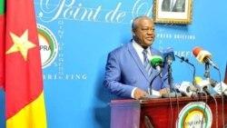 Le Ministre de la fonction publique Joseph Le lors de la mise au point sur la campagne de vaccination des agents de l'Etat, à Yaoundé, le 21 octobre 2021. (PHOTO cellule communication ministère de la fonction publique)