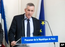 Paris Prosecutor Francois Molins speaks to the media about the arrest of an Islamic extremist with an arsenal of heavy weapons who is suspected of planning an imminent attack on one or more French churches, in Paris, France, April 22, 2015.