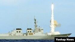 지난 6월 하와이 인근 해역에서 실시된 한국 해군의 미사일 실사격 훈련.