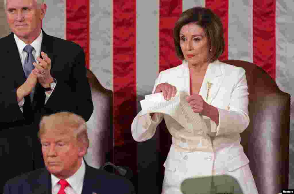 Speaker of the House Nancy Pelosi (D-CA) rips up a copy of U.S. President Donald Trump's speech after his State of the Union address to a joint session of the Congress in the House Chamber of the U.S. Capitol in Washington, Feb. 4, 2020.