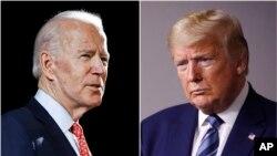 조 바이든 전 부통령과 도널드 트럼프 미국 대통령. 버니 샌더스 상원의원이 민주당 대선 후보 경선에서 중도 하차함에 따라 조 바이든 대통령이민주당의 대통령 후보로 사실상 확정됐다.