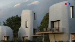 3D çap olunmuş beton evlər