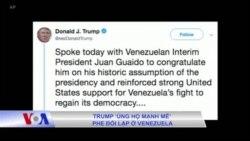 Trump 'ủng hộ mạnh mẽ' phe đối lập ở Venezuela