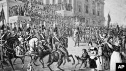 An artist's impression of President William Henry Harrison's March 4, 1841 inauguration in Washington. Harrison declined the offer of a closed carriage and rode on horseback to the Capitol, braving cold temperatures, leading to his death.