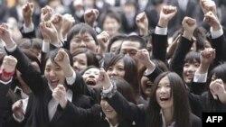 Sinh viên Nhật Bản trong một buổi lễ khởi động công tác tìm kiếm việc làm