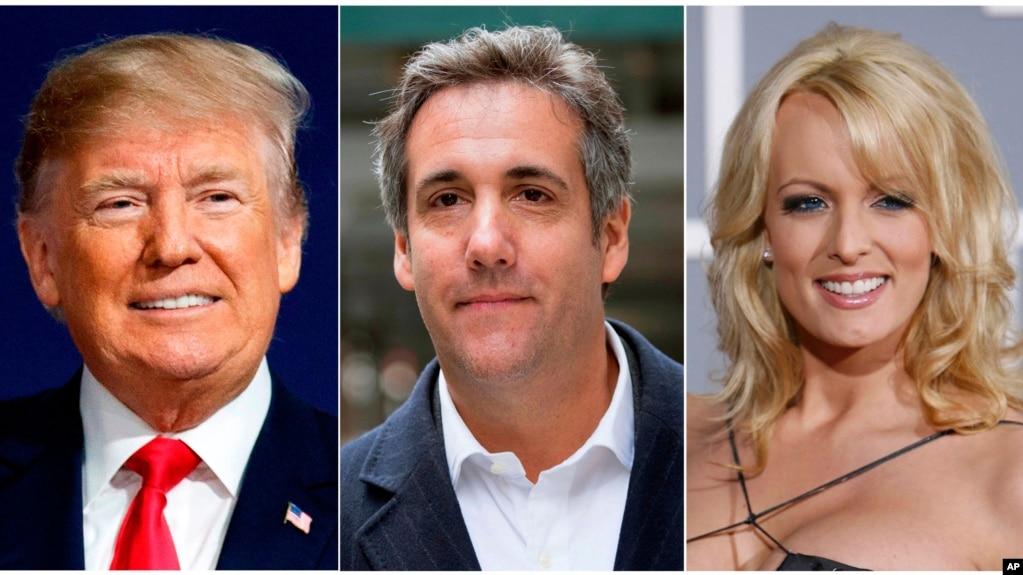 En esta foto combianda aparecen el presidente Donald Trump, izquierda, el abogado Michael Cohen, centro y la actriz porno Stormy Daniels.