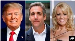 ພາບຈັດຮວມກັນ ຈາກຊ້າຍ, ປະທານາທິບໍດີສະຫະລັດ ທ່ານດໍໂນລ ທຣຳ (Donald Trump), ທະນາຍຄວາມໂມໂກຄ໌ ໂຄເຮັນ (Michael Cohen) ແລະດາວໂປ້ສະແດງຮູບເງົາ ນາງສຕອມມີ ດານຽລ