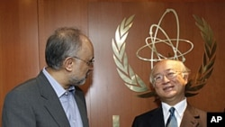 Director General of the International Atomic Energy Agency (IAEA) Yukiya Amano, right, from Japan, welcomes Iranian Foreign Minister Ali Akbar Salehi, prior to their talks at the International Center in Vienna, Austria, July 12, 2011