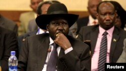 A spokesman for South Sudanese President Salva Kiir, shown here at a regional summit on South Sudan in Addis Ababa, says no journalists have been questioned by National Security.