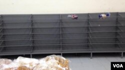 No bread in store shelves in most shops in Zimbabwe...